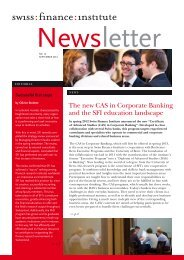 The new CAS in Corporate Banking and the SFI education landscape