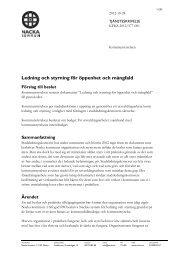 Ledning och styrning för öppenhet och mångfald - Nacka kommun