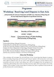 Programme Workshop: Resolving Land Disputes in East Asia