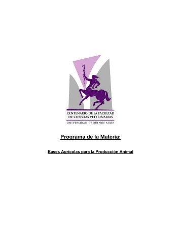Programa de la Materia: - Facultad de Ciencias Veterinarias