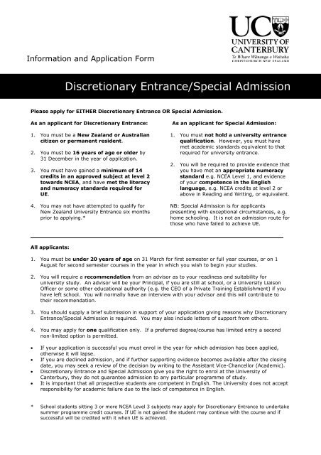 Discretionary Entrance/Special Admission - University of Canterbury