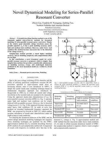 Novel Dynamical Modeling for Series-Parallel Resonant Converter