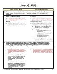 Hands off HLDAA - Ontario Nurses' Association