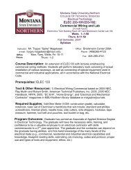 ELEC 233-101/233-102 - College of Technical Sciences - Montana ...