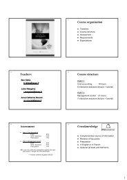 Course organisation Teachers Course structure ... - PageOut