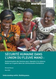 sécurité humaine dans l'union du fleuve mano - International Alert