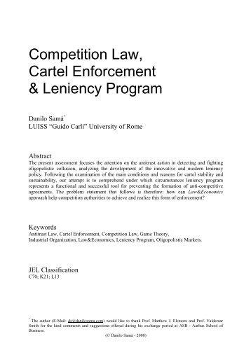 Competition Law, Cartel Enforcement & Leniency Program