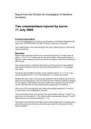 Two crewmembers injured by burns 11 July 2006 - Danish Maritime ...