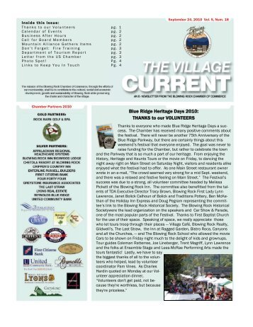 Blue Ridge Heritage Days 2010 - Blowing Rock Chamber of ...
