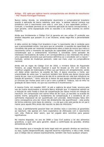 Artigo - STJ opta por aplicar teoria concepcionista em ... - Recivil