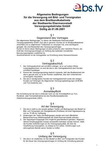 Allgemeine Bedingungen - Stadtwerke Ebermannstadt