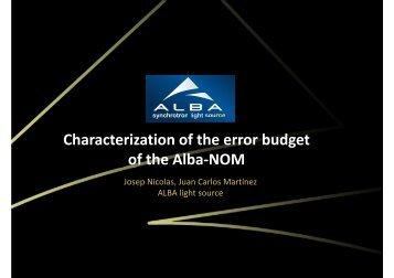 Characterization of the error budget of the Alba-NOM - IWXM - alba