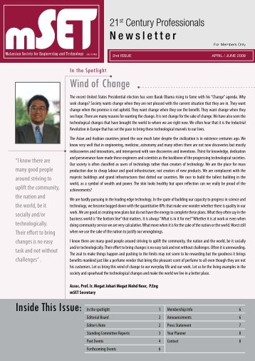 Issue 2 : April - June 2009 - malaysian society for engineering and ...