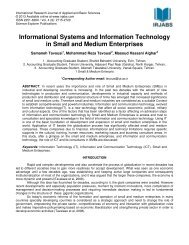 Informational Systems and Information Technology in Small ... - irjabs