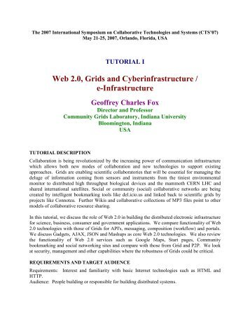 Web 2.0, Grids and Cyberinfrastructure / e-Infrastructure