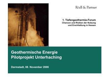 Das Geothermieprojekt Unterhaching