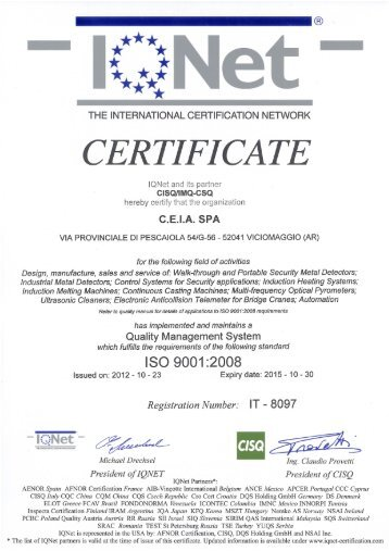 CEIA is an ISO 9001 Company certified