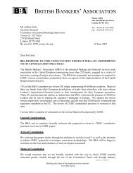 British Bankers' Association (BBA) - European Banking Authority