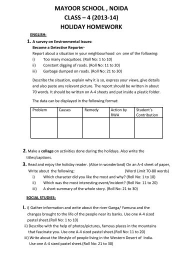 mayoor school , noida class – 4 (2013-14) holiday homework