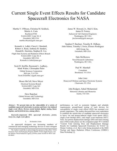 Current Single Event Effects Results For Candidate Spacecraft