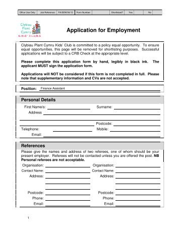 Application for Employment - Clybiau Plant Cymru: Kid's Clubs