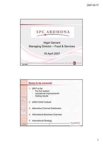 2007 Stategic Review Investor Day - Northmead - SPCA Presentation
