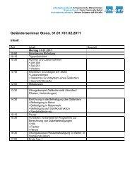 Geländerseminar Stoos, 31.01.+01.02.2011