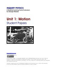 Unit 1: Motion - Student Papers