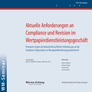 Aktuelle Anforderungen an Compliance und ... - WM Seminare
