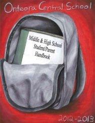 Student/Parent Handbook - Onteora Central School District