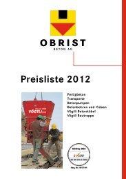 Preisliste 2012 - Obrist Bauunternehmung AG