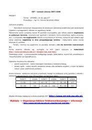 Organizacja Sektora Telekomunikacyjnego-> informacje - cygnus