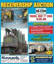 RECEIVERSHIP AUCTION - Maynards Industries