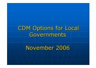 CDM Options for Local Governments - Local Renewables