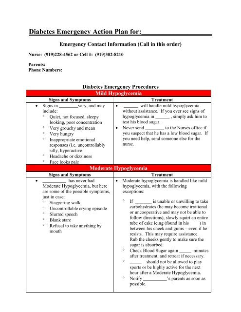 Diabetes Emergency Action Plan for Paul Laurent
