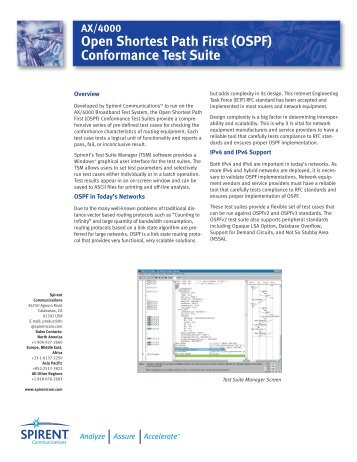 AX4000 OSPF Conformance Test Suite - Spirent Communications