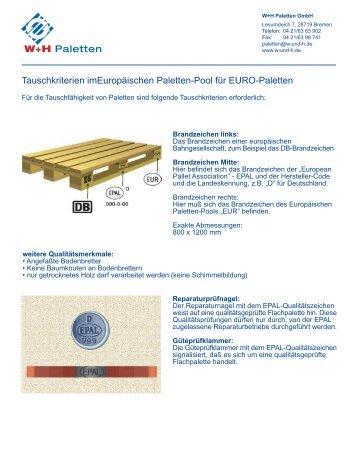 Tauschkriterien imEuropäischen Paletten-Pool für ... - W & H Paletten
