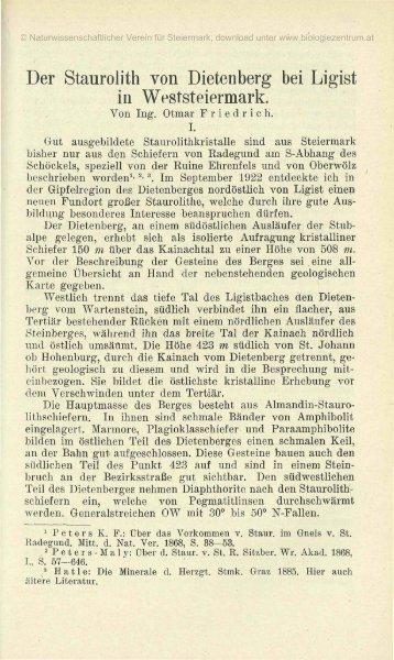 Der Staurolith von Dietenberg bei Ligist in Weststeiermark.
