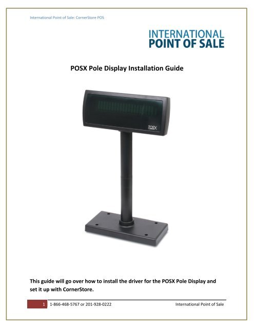 Installation Instruction For POS-X Pole Display - Corner