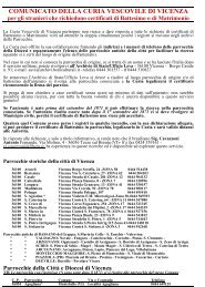 COMUNICATO DELLA CURIA VESCOVILE DI VICENZA - Webdiocesi