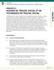 Principe IV : Dossier de travail social et de techniques de travail social