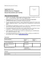 Application Form Wildlife Reserves Singapore Docent Recruitment ...
