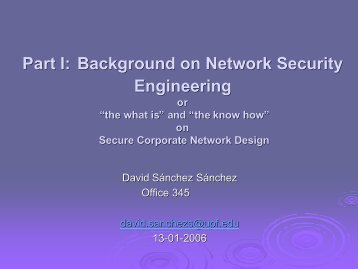 """Part I: Background on Network Security Engineering or """"the what is ..."""