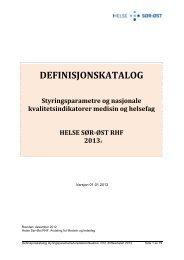 Definisjonskatalog - Helse Sør-Øst