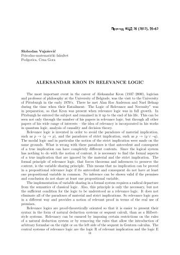 ALEKSANDAR KRON IN RELEVANCE LOGIC