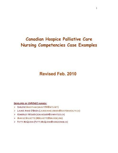 Canadian Hospice Palliative Care Nursing Competencies Case