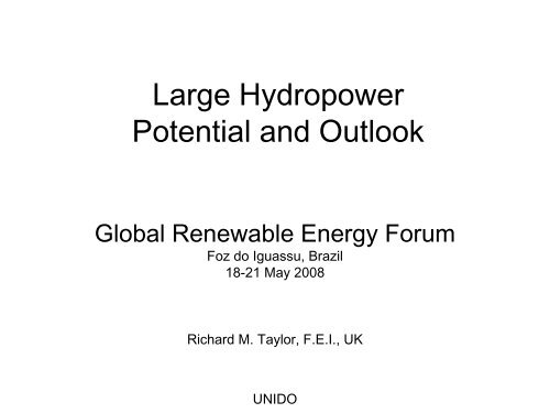 Large Hydropower Potential and Outlook - unido