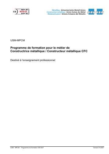 Programme de formation pour le métier de Constructrice métallique ...