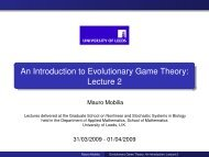 An Introduction to Evolutionary Game Theory: Lecture 2 - School of ...