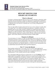 Resume Writing for Graduate Students - The Graduate College at ...